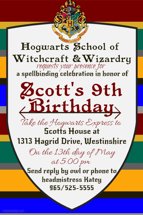 Harry Potter Party Invitation Template Inspirational Harry Potter Birthday Invite Template