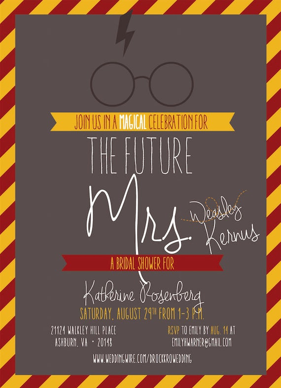 invitation harry potter themed bridal