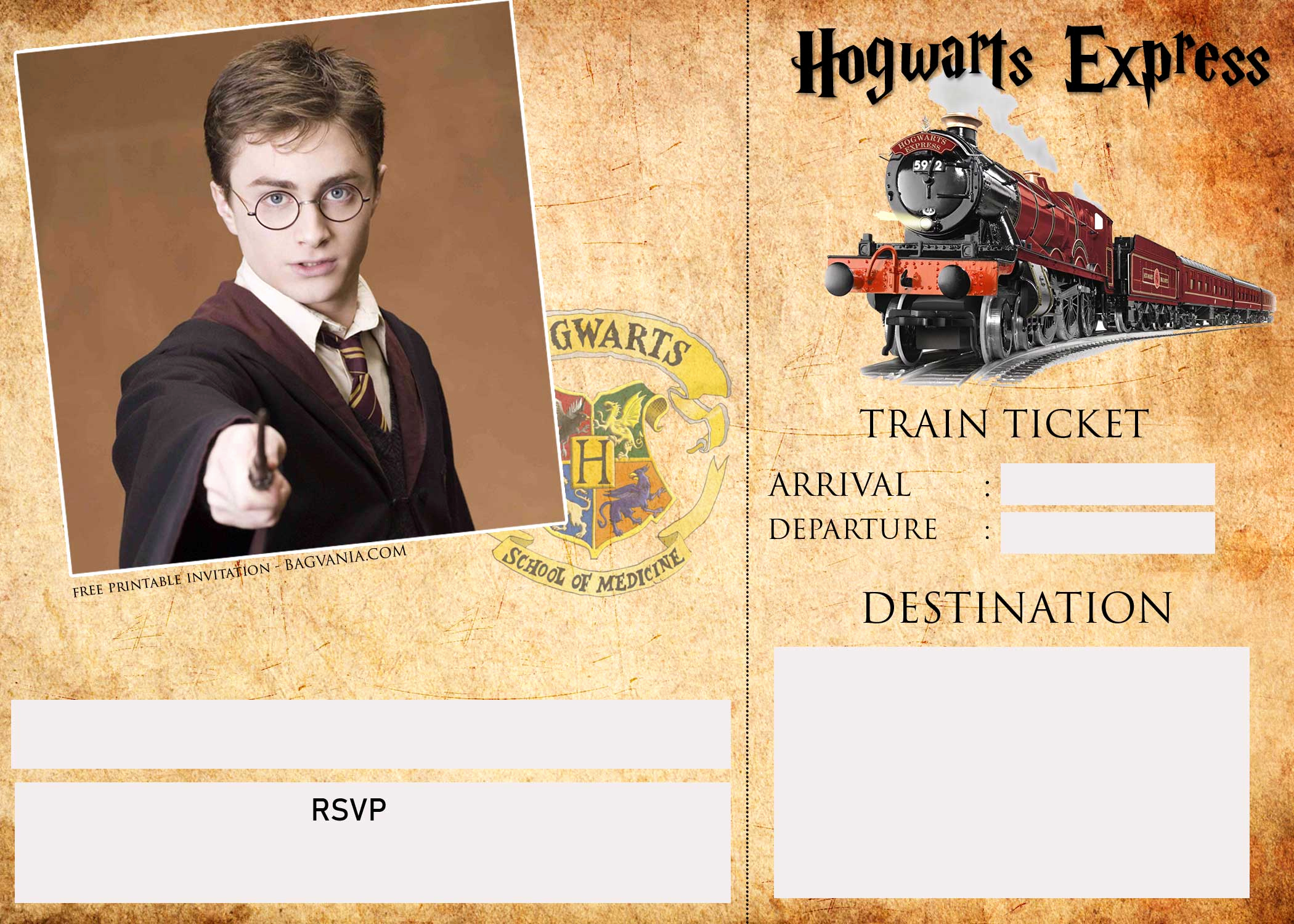 Harry Potter Party Invitation Template Unique Harry Potter Ticket Invitation Template – Free Printable