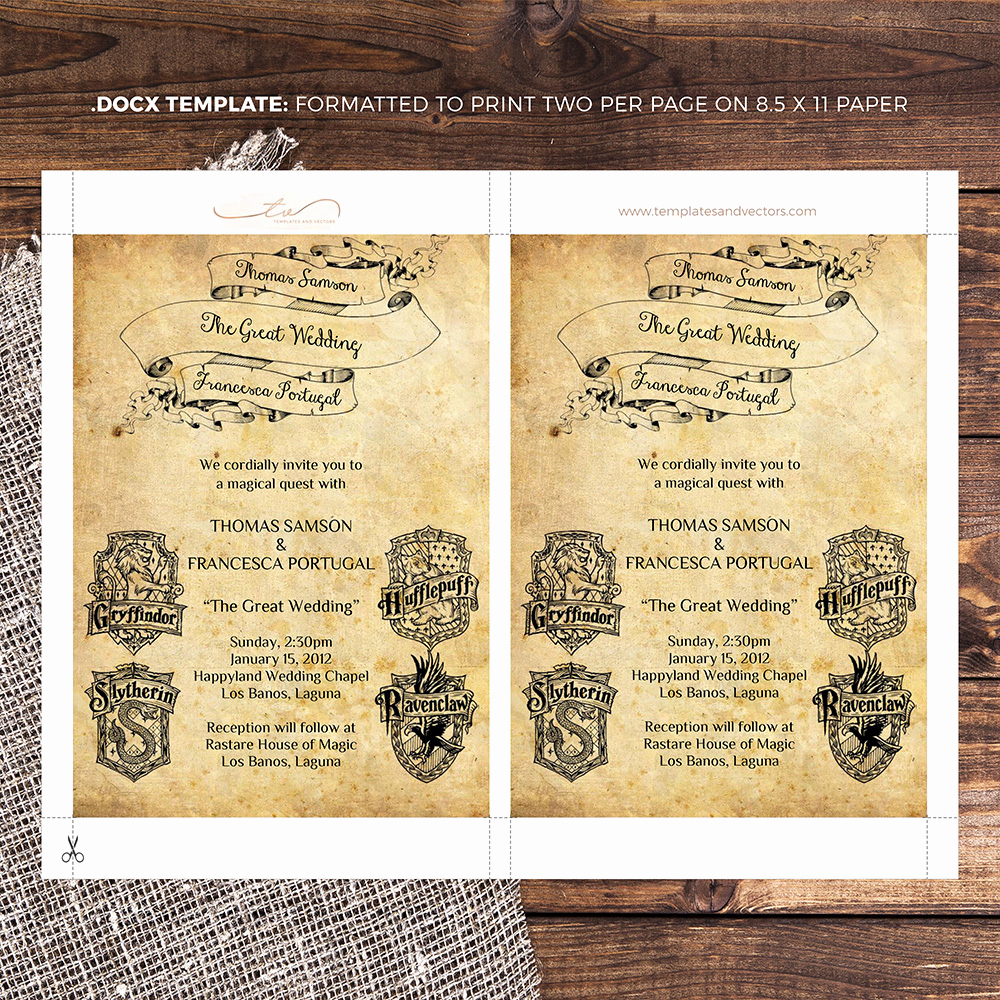 Harry Potter Wedding Invitation Awesome Harry Potter Wedding Invitation Diy Printable Template