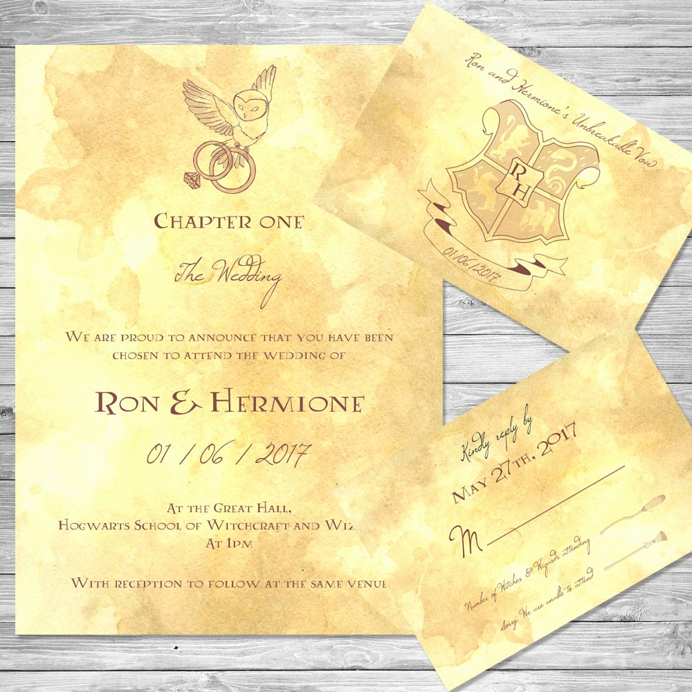 Harry Potter Wedding Invitation Awesome Harry Potter Wedding Invitation Set Owl Digital