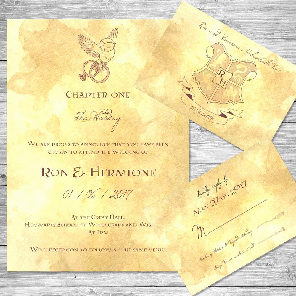 Harry Potter Wedding Invitation Awesome Harry Potter Wedding Invitation Set Owl Digital