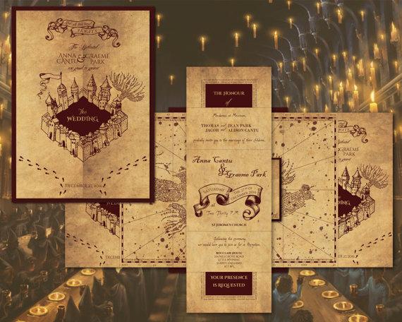 Harry Potter Wedding Invitation Beautiful Harry Potter Marauder S Map Inspired Wedding Invitation