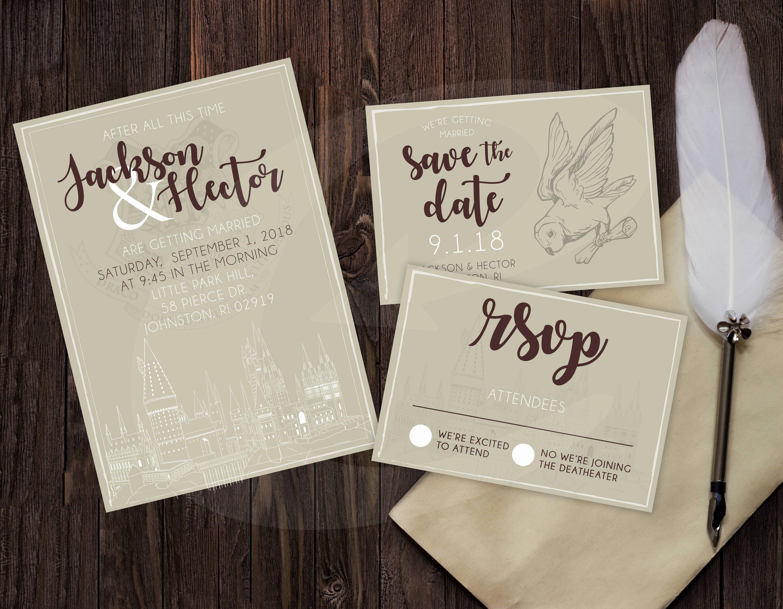 Harry Potter Wedding Invitation Elegant Harry Potter themed Wedding Invitation Rsvp & Save the