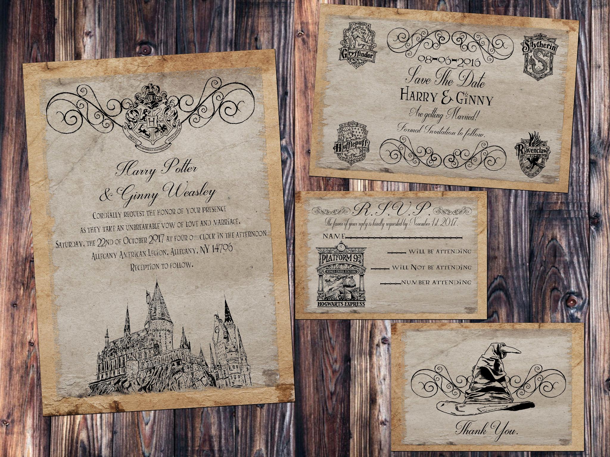 Harry Potter Wedding Invitation Elegant Hogwarts Parchment Wedding Invitation Save the Date Rsvp
