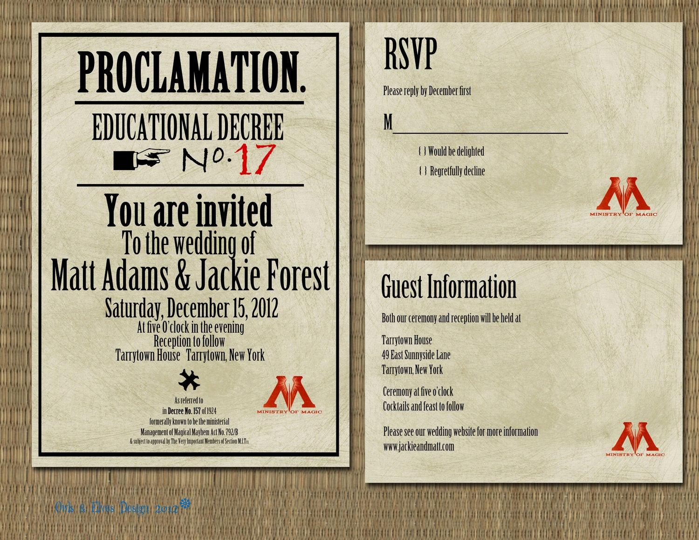 Harry Potter Wedding Invitation Elegant Printable Harry Potter Proclamation Wedding Invitation