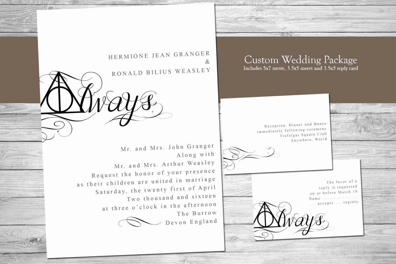 Harry Potter Wedding Invitation Fresh Harry Potter Wedding Invitation Always Digital Files