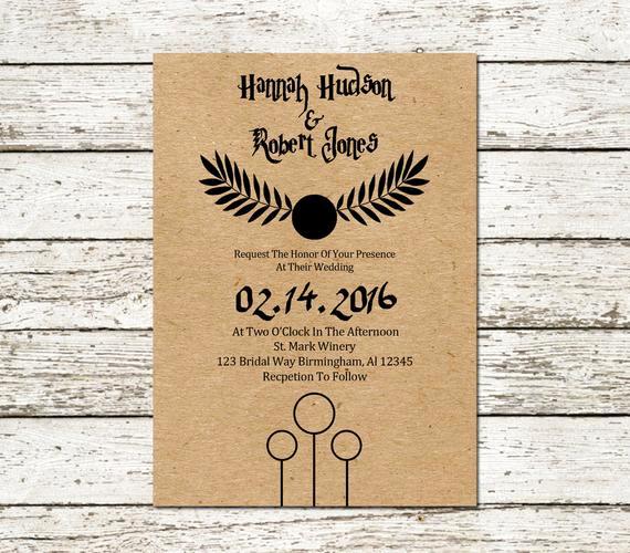 Harry Potter Wedding Invitation Fresh Harry Potter Wedding Invitation Kraft Paper by