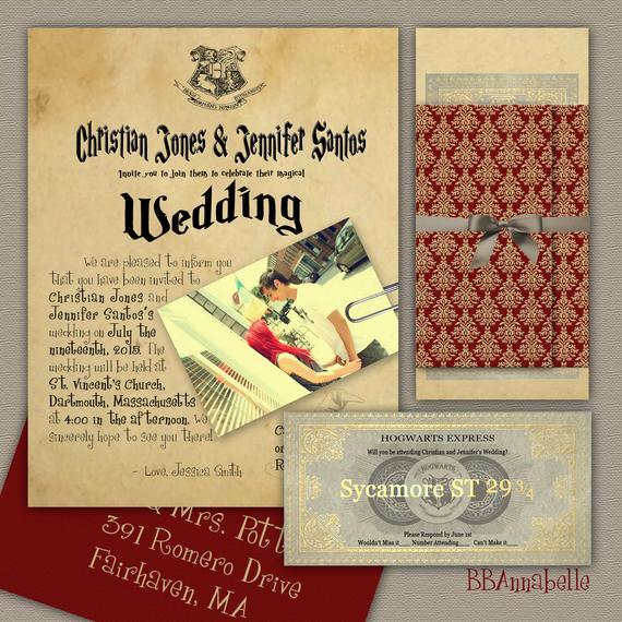 Harry Potter Wedding Invitation Lovely Custom Harry Potter Inspired Wedding Invitation Suite