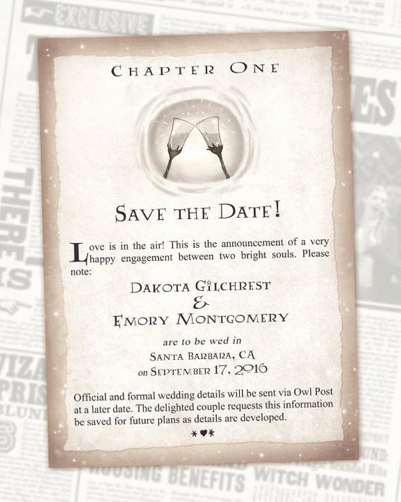 Harry Potter Wedding Invitation Luxury Harry Potter Save the Date Book Wedding Chapter Invite
