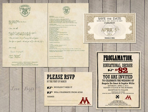 Harry Potter Wedding Invitation New Wedding Invitation Set Harry Potter Save the Date