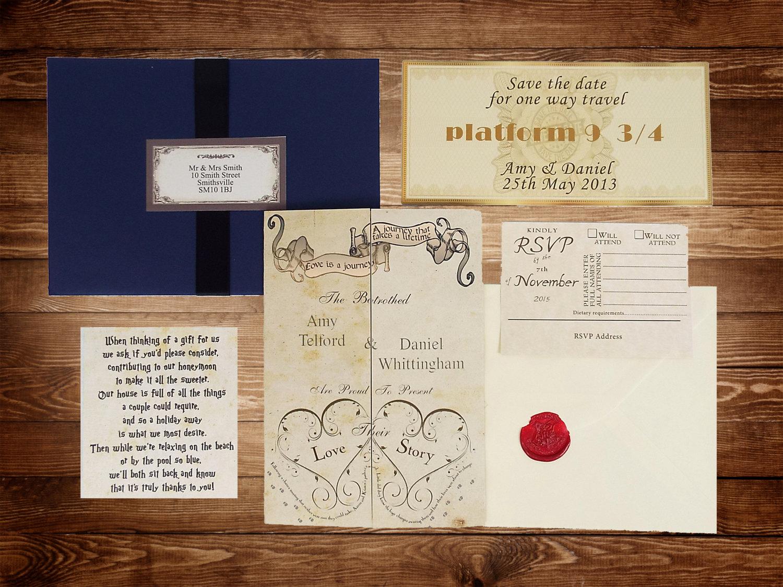Harry Potter Wedding Invitation Unique Handmade Harry Potter Wedding Invitations