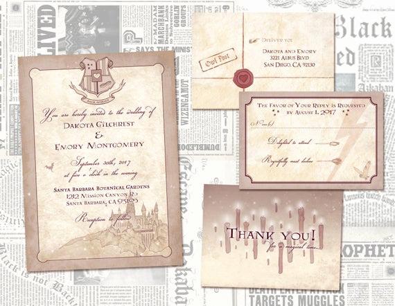 Harry Potter Wedding Invitation Unique Harry Potter Wedding Invitation Set Geeky Custom