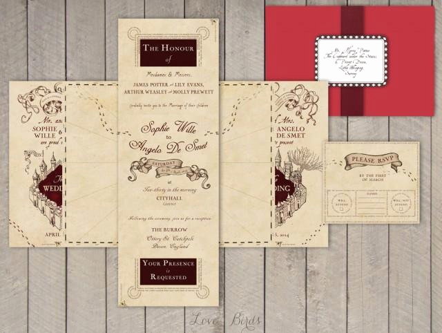 Harry Potter Wedding Invitation Unique Wedding Invitation Set Harry Potter Marauder S Map