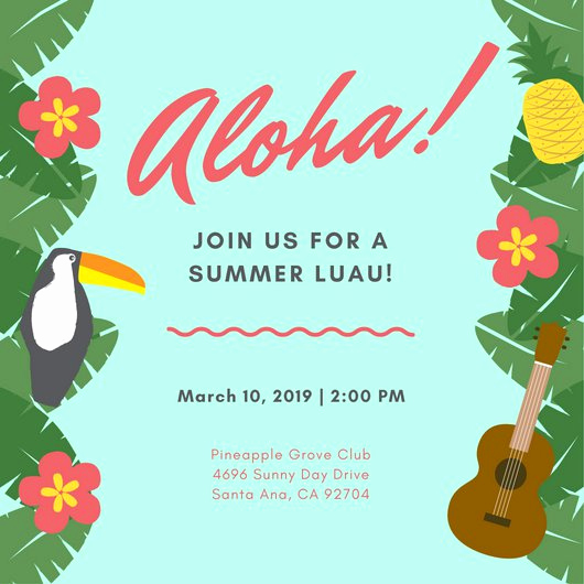 Hawaiian Party Invitation Template Awesome Customize 102 Luau Invitation Templates Online Canva