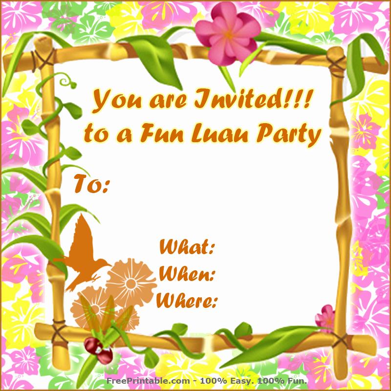 Hawaiian Party Invitation Template Beautiful Free Luau Invitations
