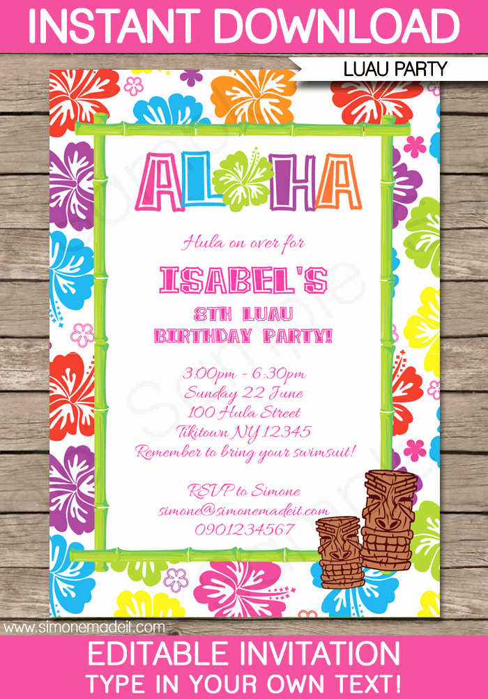 Hawaiian Party Invitation Template Best Of Luau Party Invitations Template Pool Parties