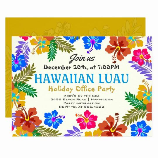 Hawaiian Party Invitation Template Elegant Hawaiian Luau Custom Party Hibiscus Invitations