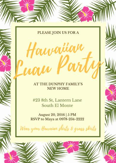 Hawaiian Party Invitation Template Fresh Luau Invitation Templates Canva