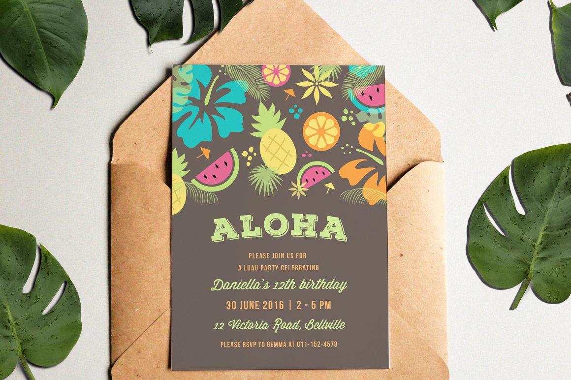 Hawaiian Party Invitation Template Fresh Luau Party Invitation Invitation Templates Creative Market