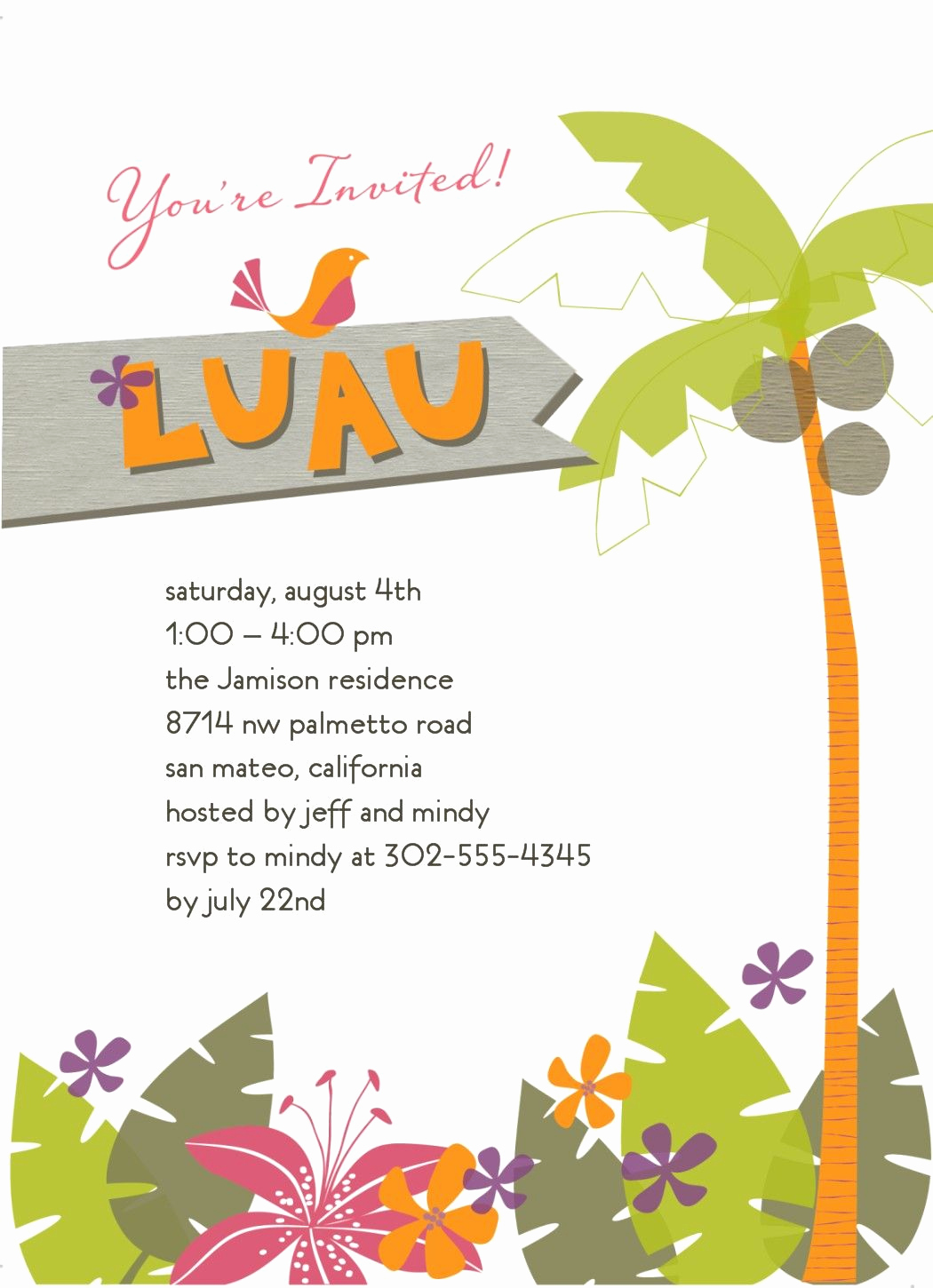 Hawaiian Party Invitation Template Lovely Tropical Invitation Luau In 2019