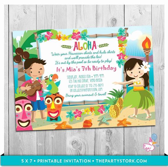 Hawaiian Party Invitation Template Luxury Luau Party Invitation Printable Girls Birthday Hawaiian Luau