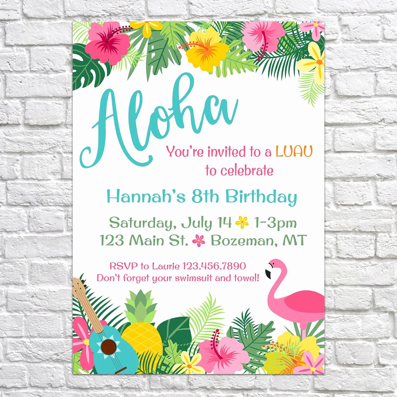 Hawaiian Party Invitation Template New Luau Birthday Invites Aloha Pineapple Invitations Summer