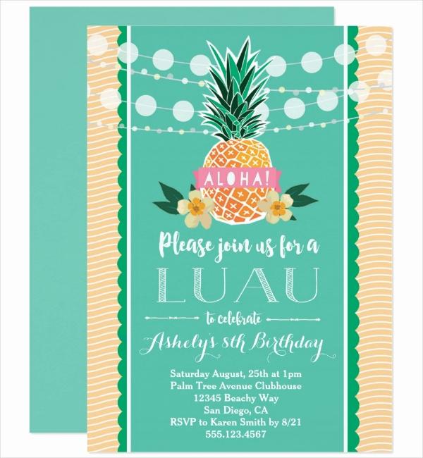 Hawaiian Party Invitation Template Unique 14 Luau Invitation Designs & Templates Psd Ai