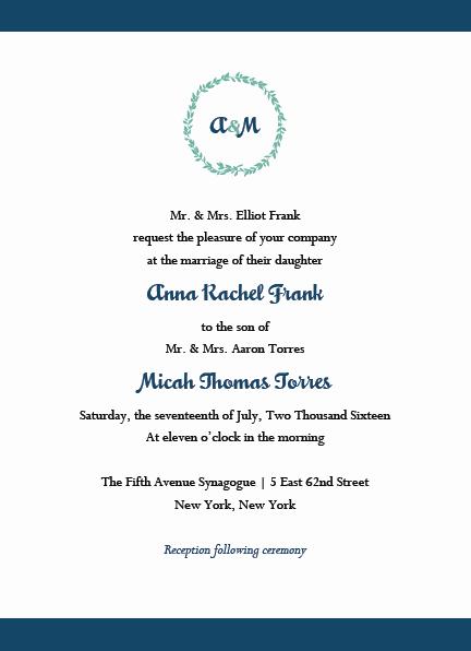 Hebrew Wedding Invitation Wording New Jewish Wedding Invitations & Rsvp with Envelopes