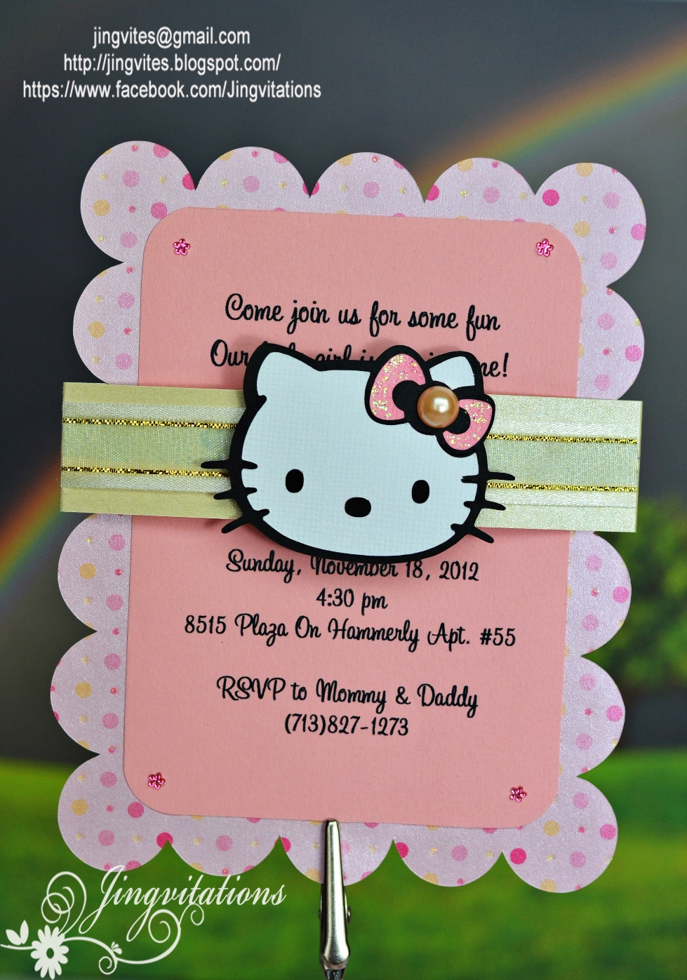 Hello Kitty Birthday Invitation Elegant Custom Handmade Hello Kitty Birth Announcement