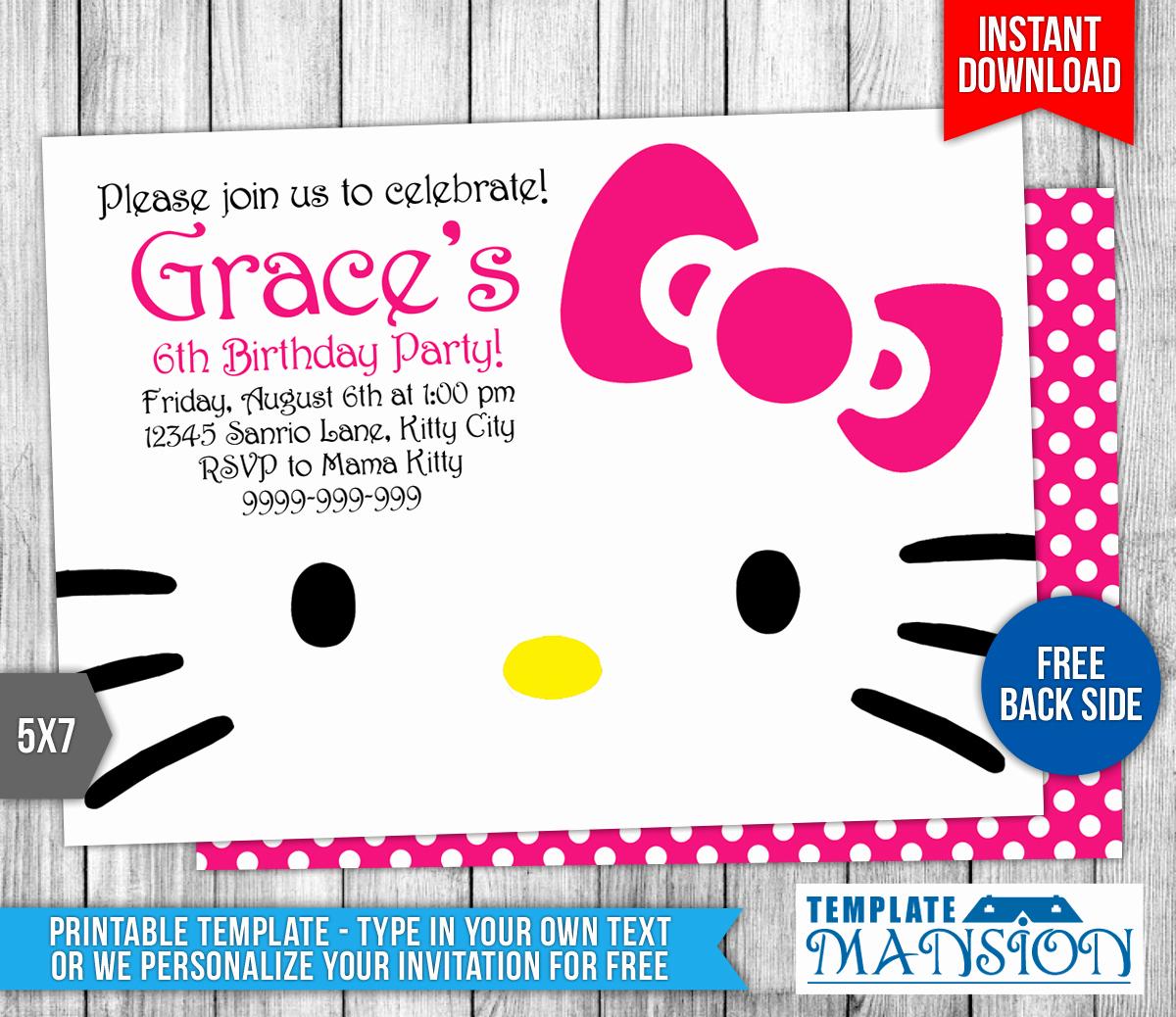 Hello Kitty Birthday Invitation Inspirational Hello Kitty Birthday Invitation by Templatemansion On
