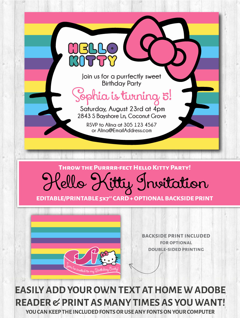 Hello Kitty Birthday Invitation Inspirational Hello Kitty Printable Invitation Rainbow – Wonderbash