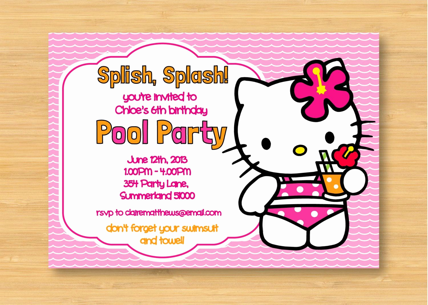 Hello Kitty Birthday Invitation Lovely Hello Kitty Printable Pool Party Birthday Invitation