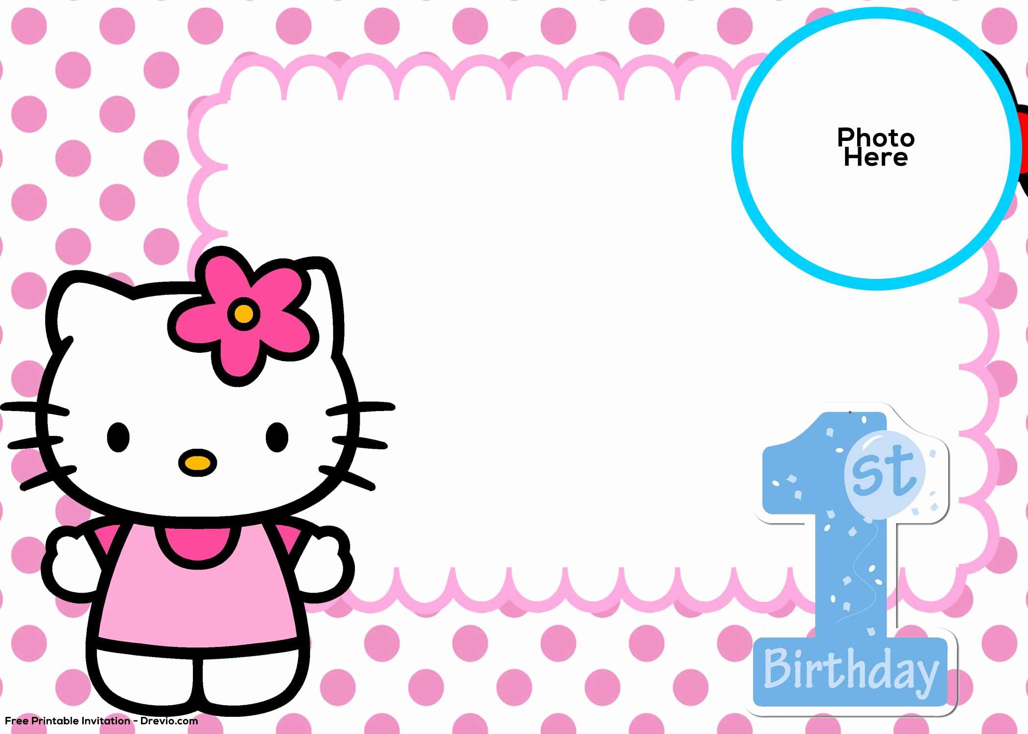 Hello Kitty Birthday Invitation New Free Hello Kitty 1st Birthday Invitation Template