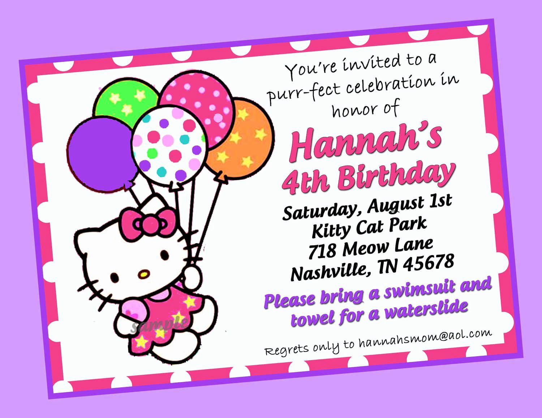 Hello Kitty Invitation Card Elegant Hello Kitty Birthday Invitations Templates Free