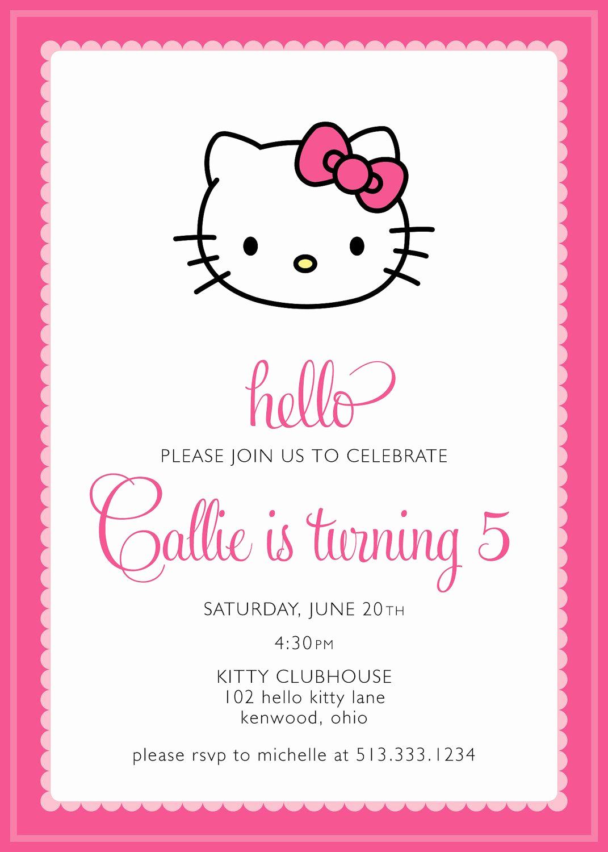 Hello Kitty Invitation Card Inspirational Hello Kitty Party Invitation Custom $15 00 Via Etsy