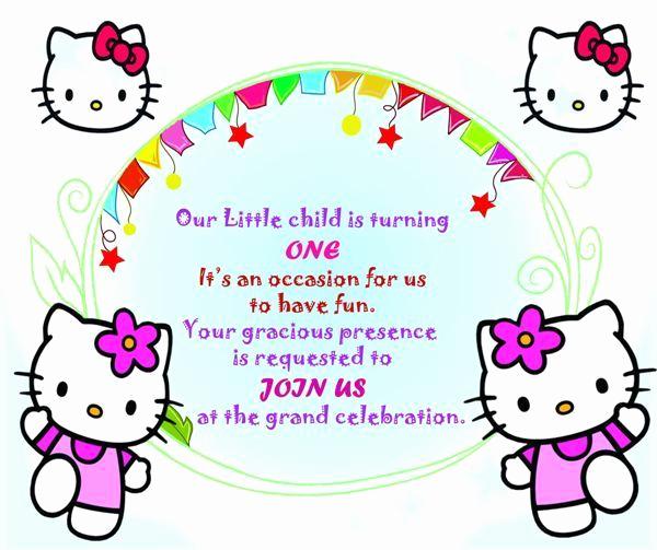 Hello Kitty Invitation Card Lovely Hello Kitty Invitation Card for 1st Birthday Template