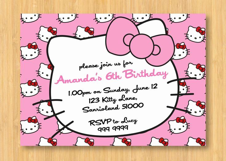 Hello Kitty Invitation Card Luxury Hello Kitty Birthday Invitations Printable Free