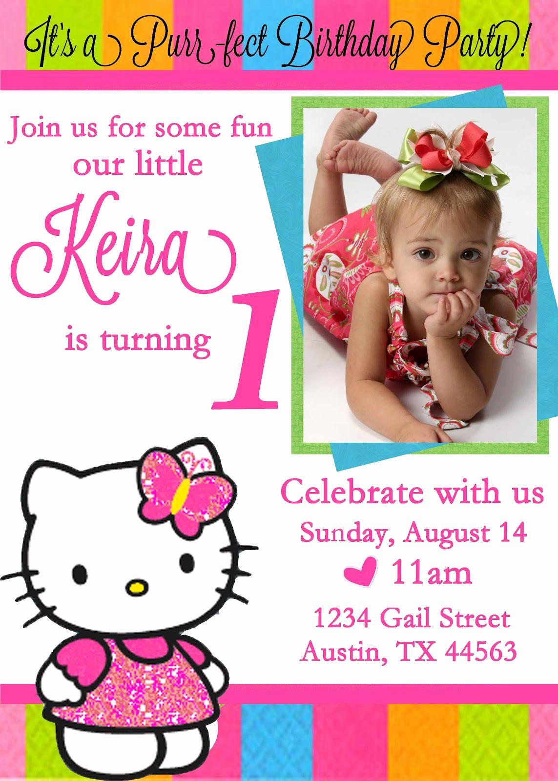 Hello Kitty Invitation Card Luxury Personalized Hello Kitty Birthday Invitations