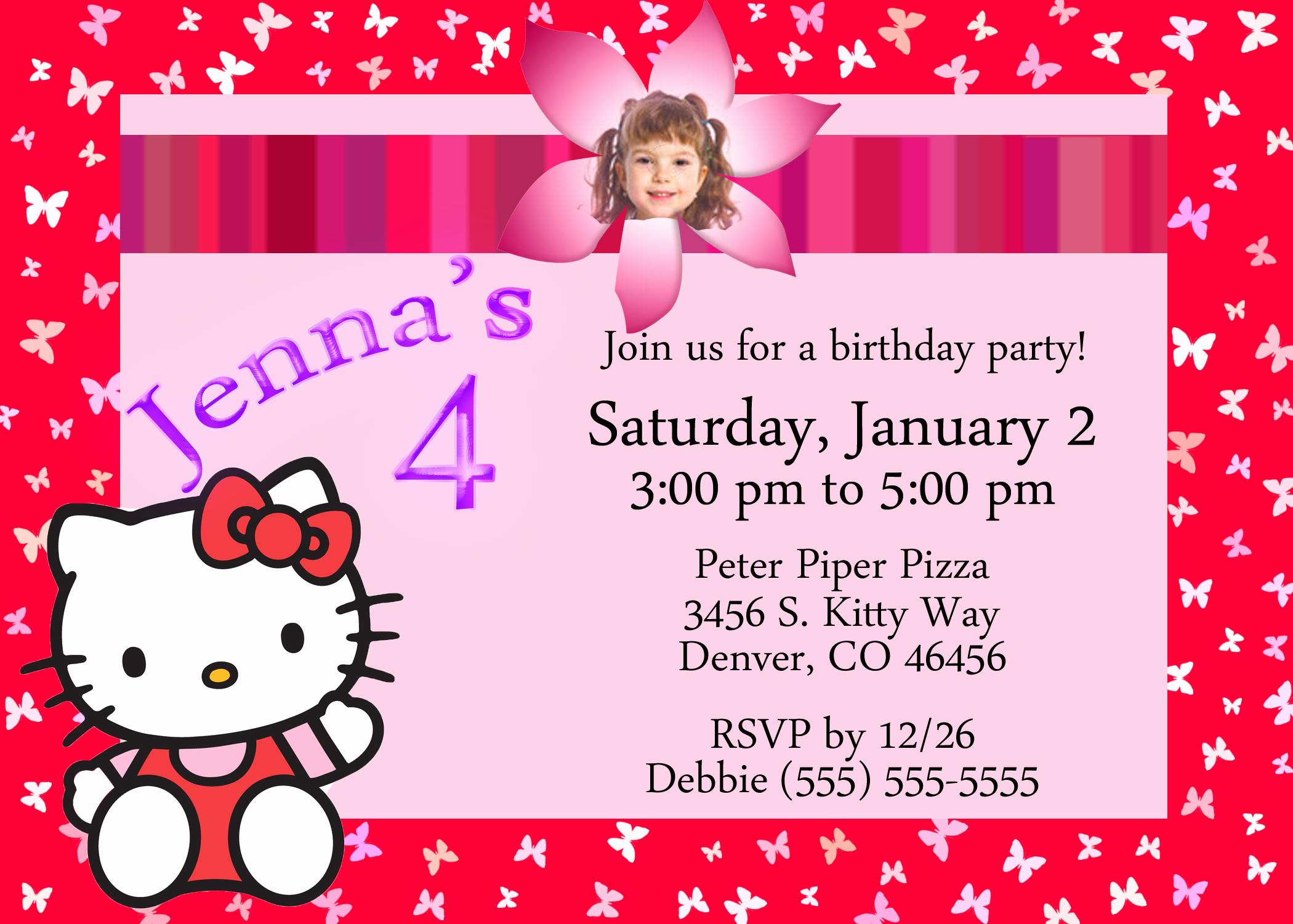 Hello Kitty Invitation Card Unique Hello Kitty Birthday Invitation