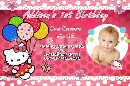 Hello Kitty Invitation Card Unique Hello Kitty Birthday Party Invitation 1st Custom Baby
