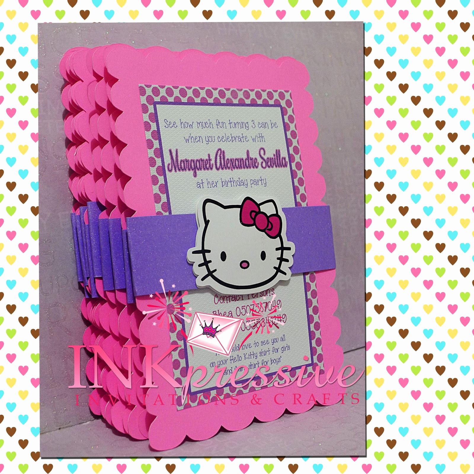 Hello Kitty Invitation Card Unique Pink Purple Hello Kitty Invitation Inkpressive