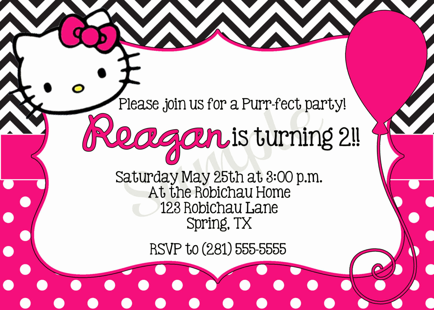 Hello Kitty Invitation Template Beautiful Hello Kitty Printable Birthday Invitations