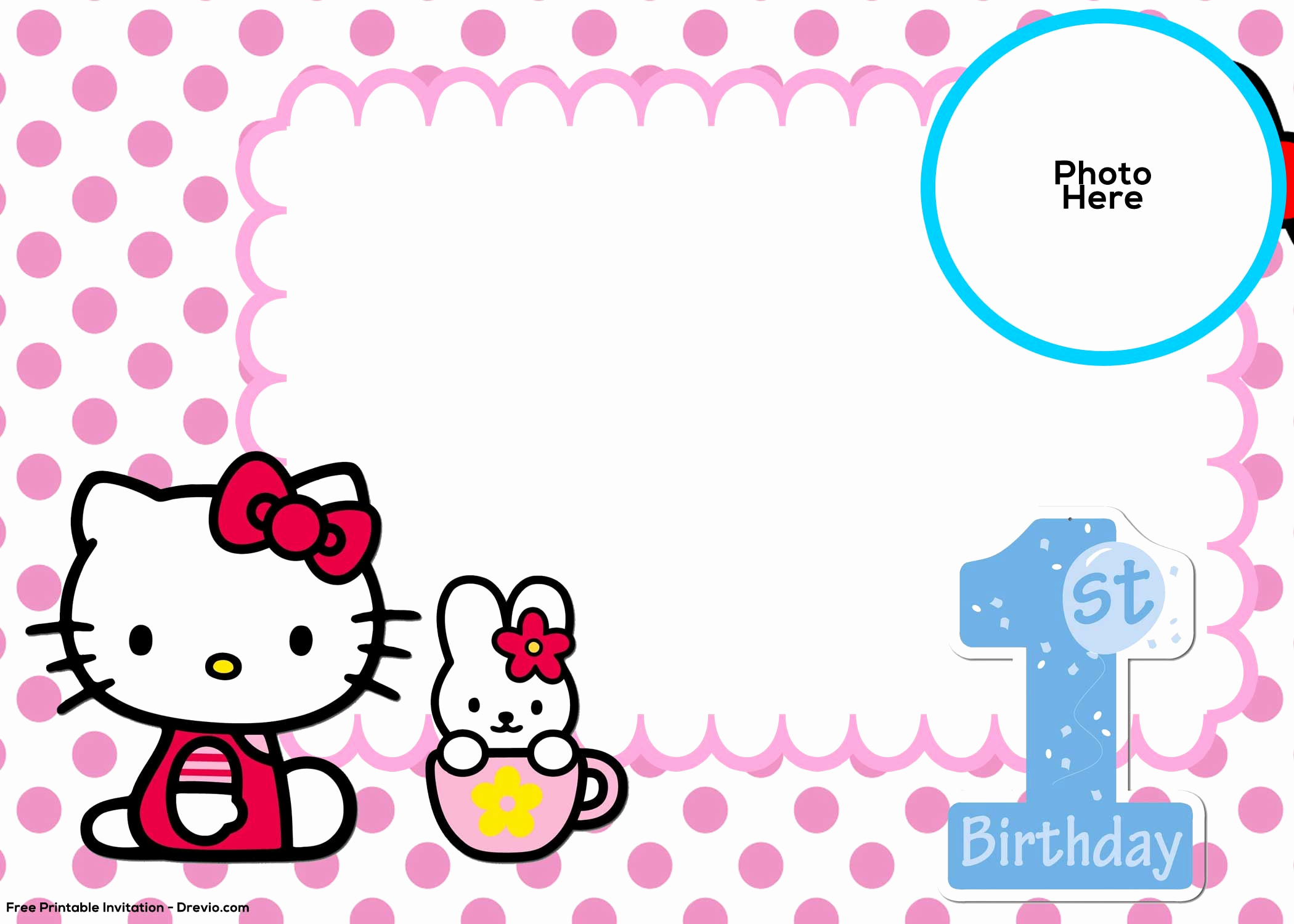 Hello Kitty Invitation Template Best Of Free Hello Kitty 1st Birthday Invitation Template