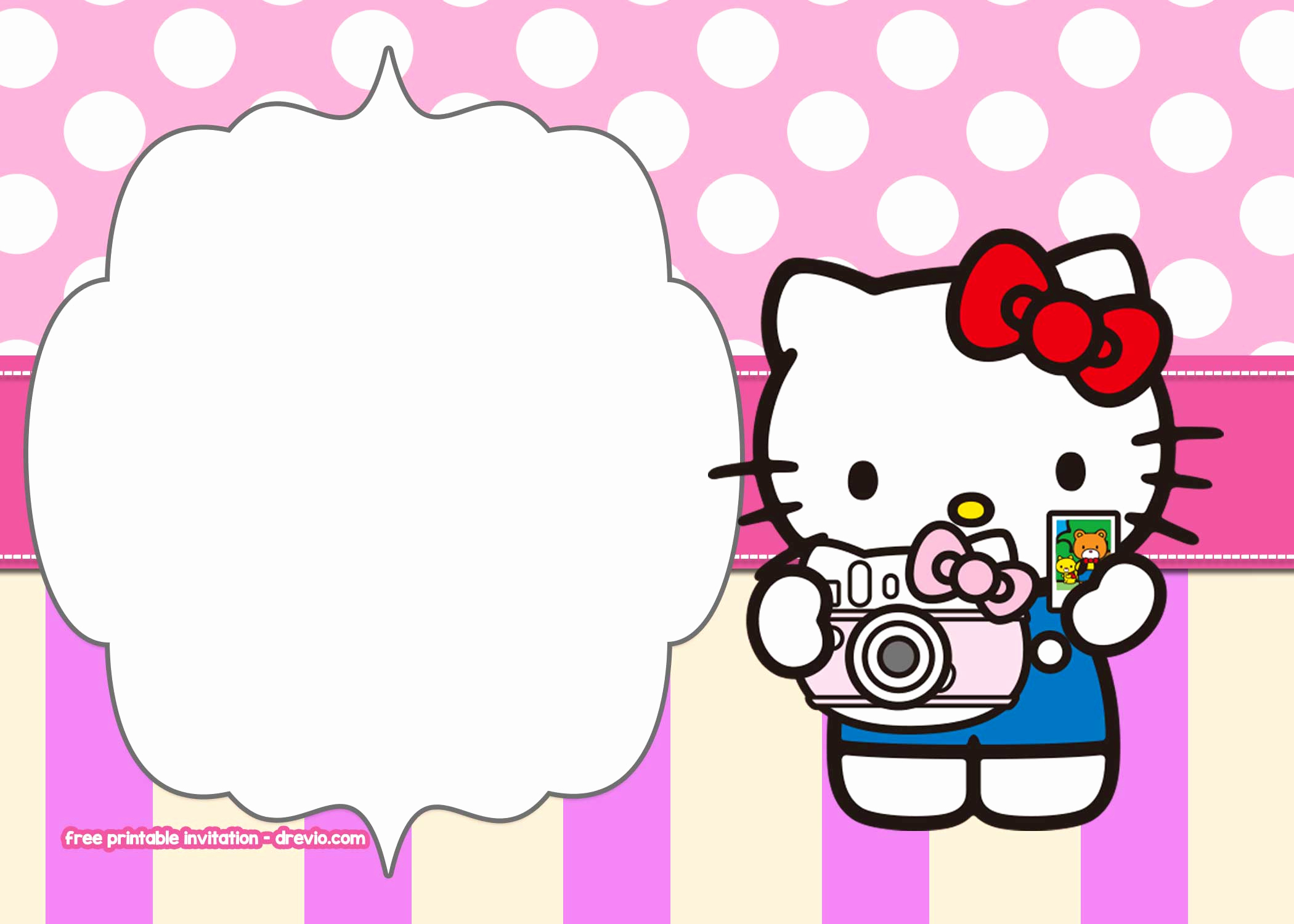Hello Kitty Invitation Template Fresh Free Printable Hello Kitty Pink Polka Dot Invitation