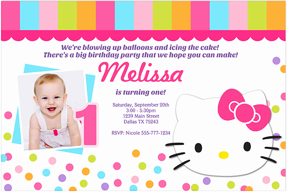 Hello Kitty Invitation Template Fresh Hello Kitty 1st Birthday Invitations