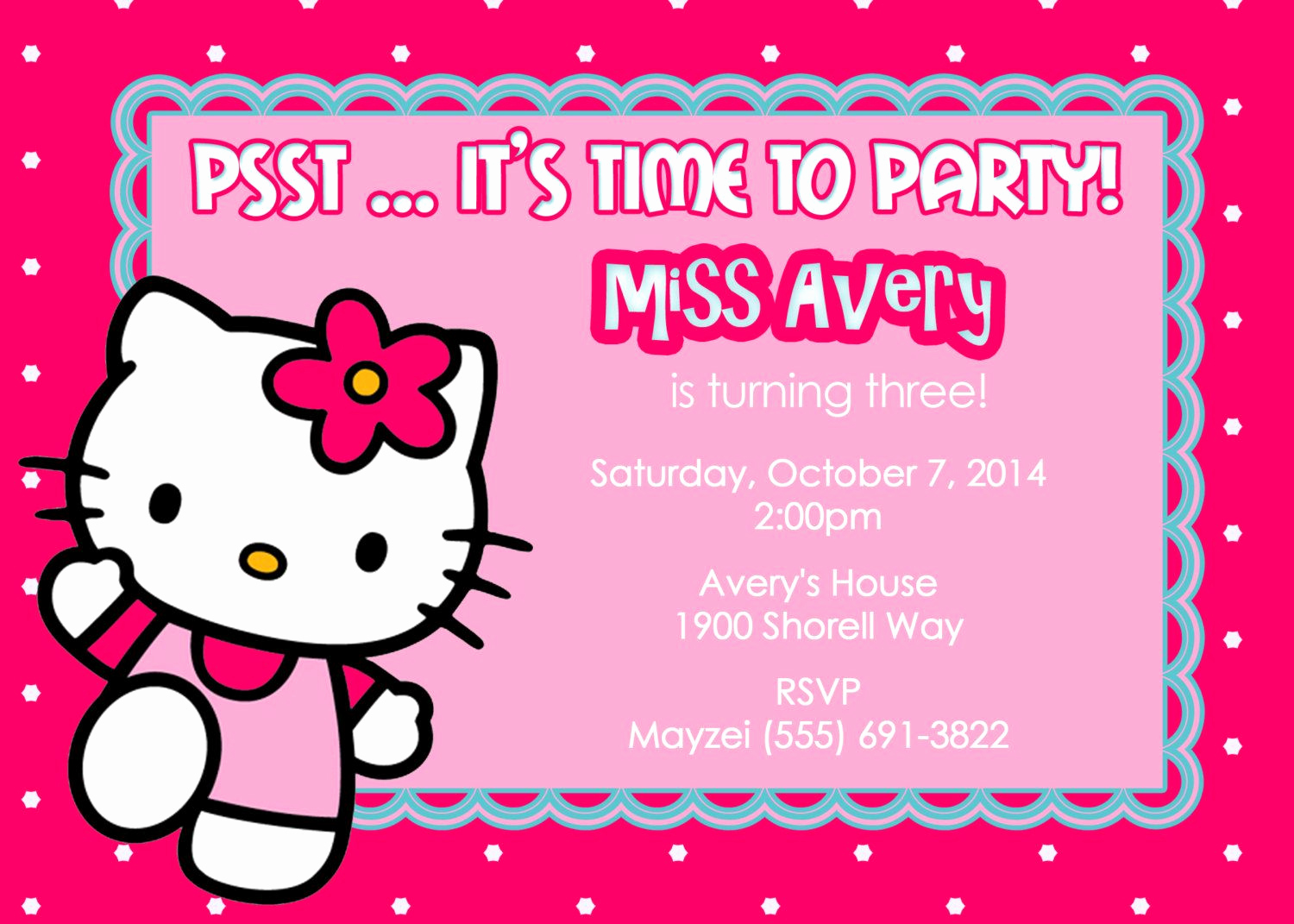 Hello Kitty Invitation Template Luxury Template for Birthday Invitation Hello Kitty