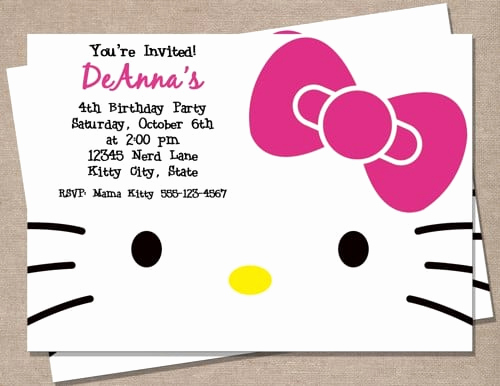 Hello Kitty Invitation Templates Elegant Blank Hello Kitty Invitation