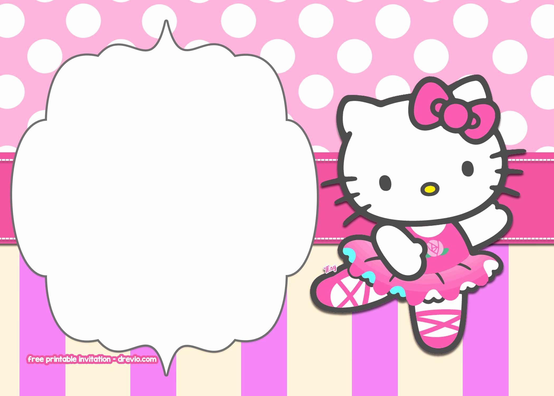 Hello Kitty Invitation Templates Lovely Free Printable Hello Kitty Pink Polka Dot Invitation