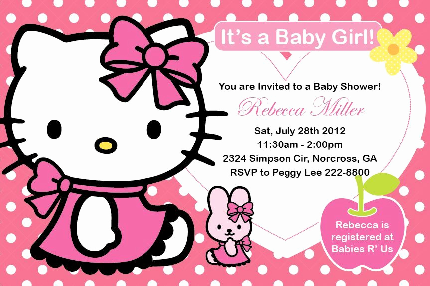 Hello Kitty Invitation Templates Lovely Hello Kitty Girl Birthday Party or Baby Shower Custom